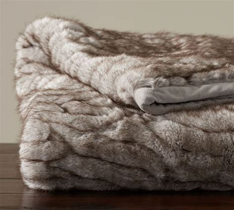gathered faux fur throw taupe pottery barn