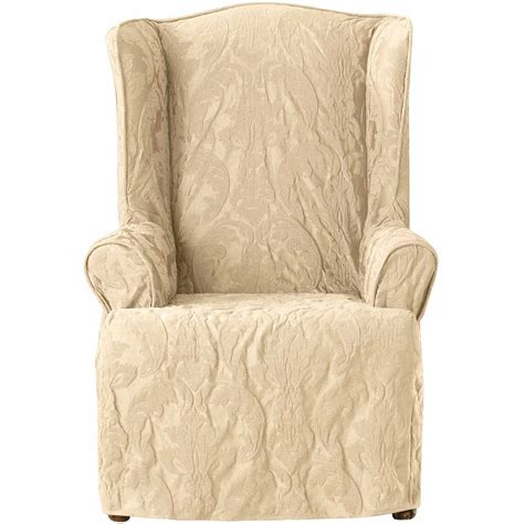 wing armchair covers sure fit cotton duck wing chair slipcover elegant sure