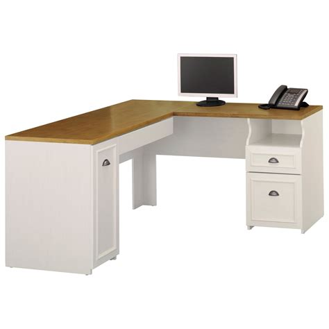 bush fairview l shaped computer desk antique white