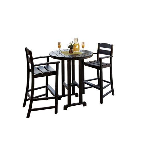 bar set terrace classics black 3 plastic outdoor patio bar set ivs111 1 bl the home depot