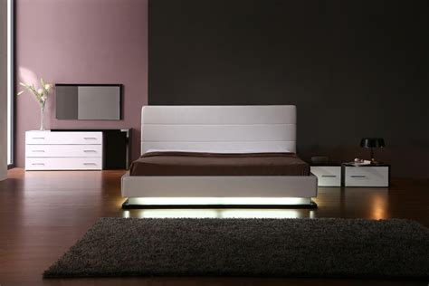 Contemporary Platform Bedroom Sets Vig Furniture Infinity White Contemporary Platform Bedroom Collection With Lights
