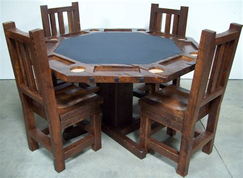 poker table and chairs poker table barnwood generation log furniture