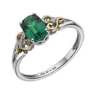 silver 9ct yellow gold created emerald ring
