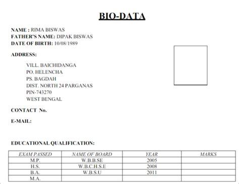 biodata form sle templates free word pdf exles