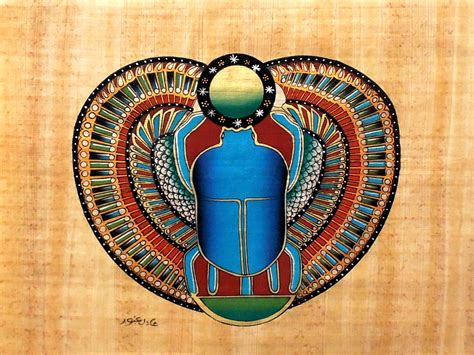 Handmade Graphics - scarab ancient papyrus painting ancient
