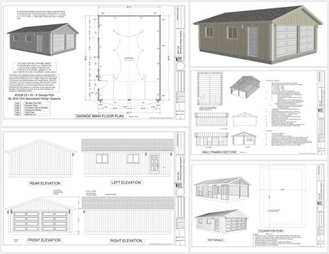 garage design plans g529 22 x 30 x 8 garage plans dwg and pdf rv garage plans