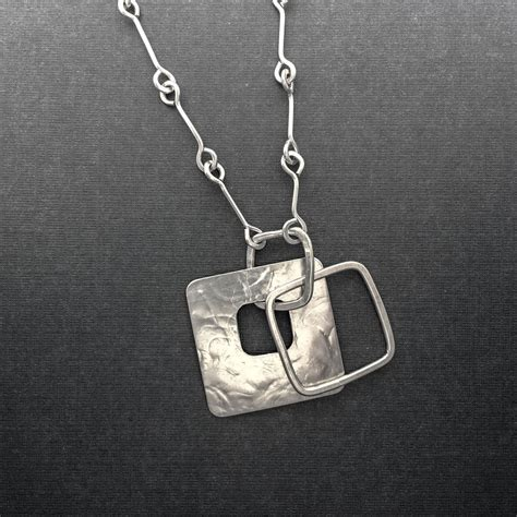 Square Pendant Necklace large silver square pendant necklace p loop silver chain