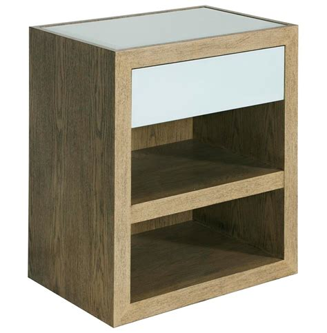 Glass Nightstand Coltrane Regency Limed Oak Blue Glass