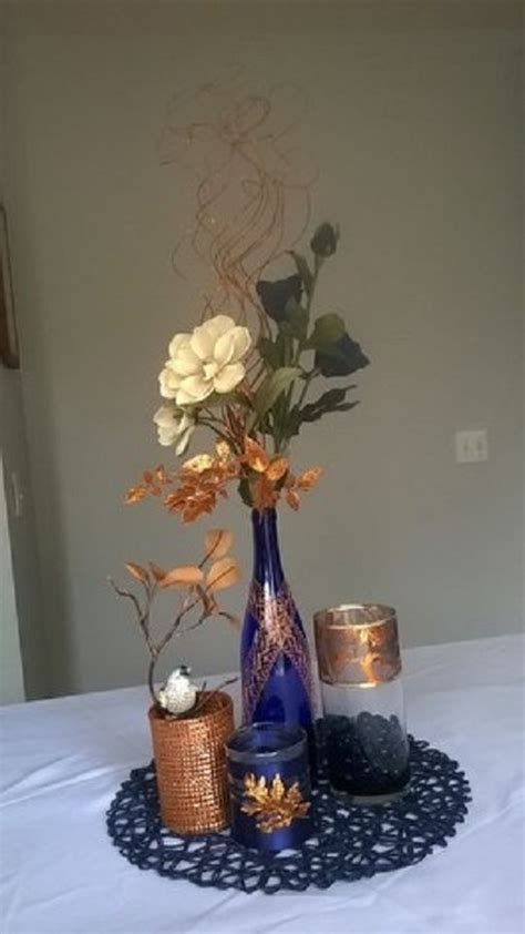 Copper and Navy Blue Centerpiece   Centerpieces   Navy
