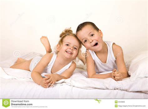 fun in bed kids having fun in the bed royalty free stock photo