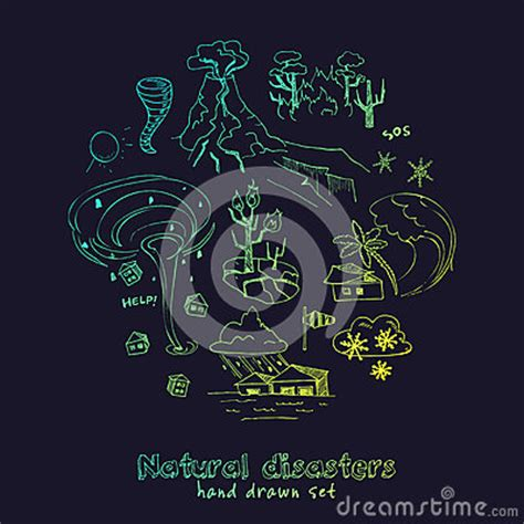 doodle earthquake set of doodle sketch disasters stock vector