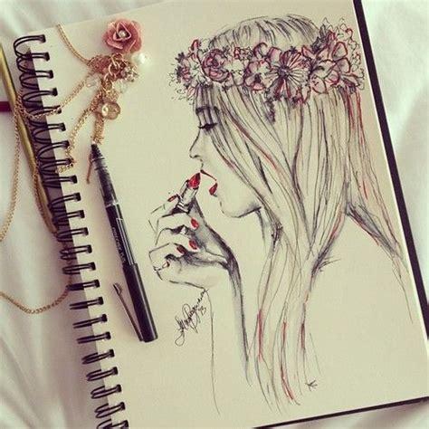 amie section b books drawing flower crown girly illustration favim com 1208529