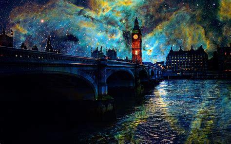 Belles images artistiques, étoiles, nuit, Londres, pont, rivière, lumières Fonds d'écran