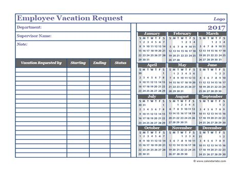 Vacation Calendar Template 2017 business employee vacation request free printable