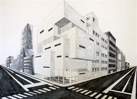 2 Point Perspective Drawing Cityscape the reference collection