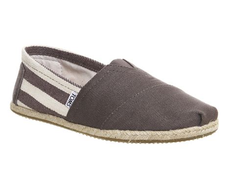 mens toms classic slip ons grey casual shoes ebay