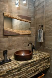 Cool Bathroom Mirrors Powder Room Contemporary With Brown