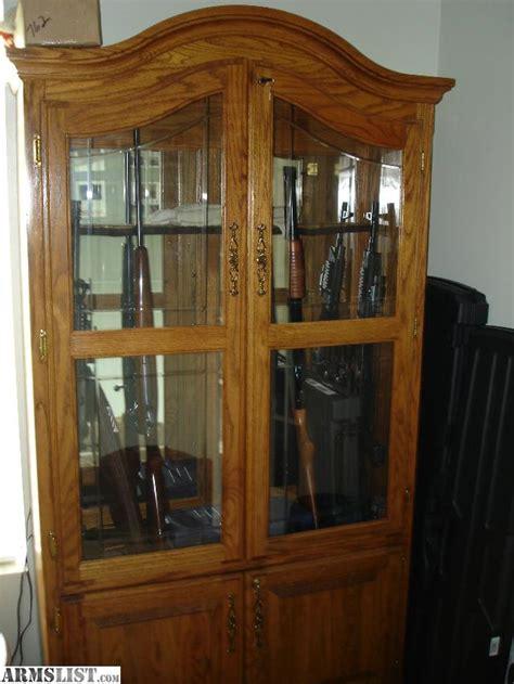 wooden gun cabinets for sale armslist for sale trade oak gun cabinet