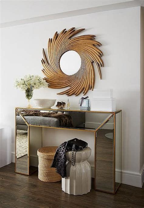Entrance Mirrors And Tables Gold Mirrored Console Table With Gold Sunburst Mirror Contemporary Entrance Foyer