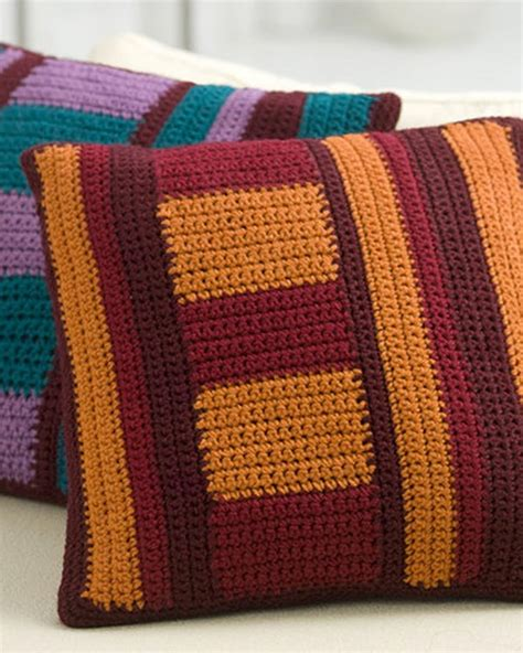 Pillow Pattern by Free Mod Striped Pillows Crochet Pattern From Redheart