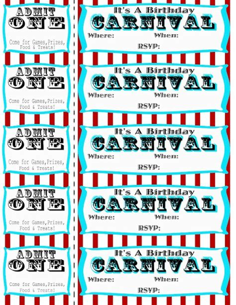 carnival event invitation ticket template seeshellspace carnival free carnival circus birthday free printables