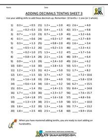 decimal math worksheets addition