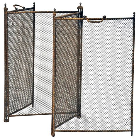 Wire Mesh Fireplace Screen by Vintage Folding Wire Mesh Screen