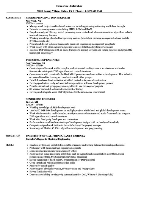 Dsp Engineer Cover Letter by Dsp Engineer Resume Sles Velvet 15 Sle Resume For Mage The Images Business