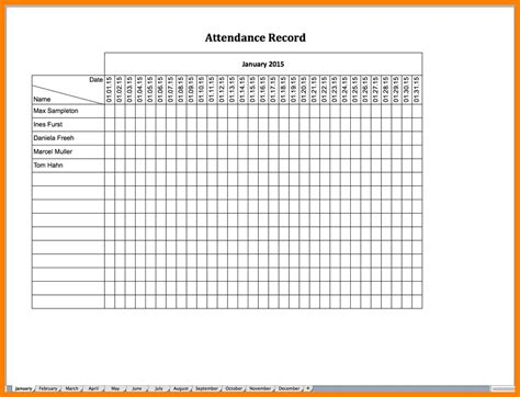 5 attendance record template exclusive resumes