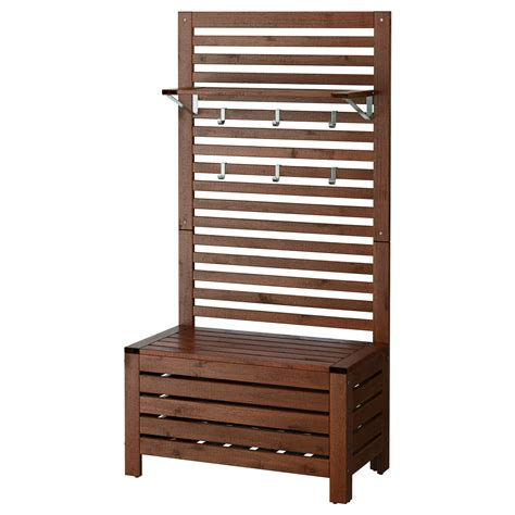 benches ikea 196 pplar 214 bench w wall panel shelf outdoor brown stained