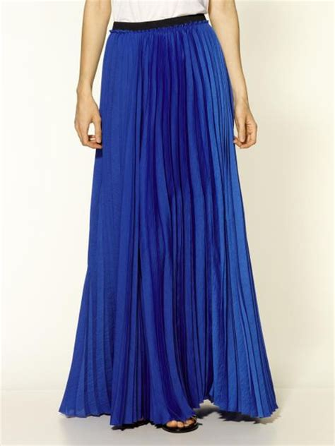 enza costa pleated maxi skirt in blue sapphire lyst