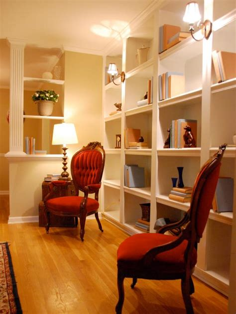 photos hgtv floating wood shelves and glass desk loversiq functional and stylish wall to wall shelves hgtv