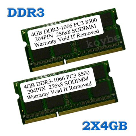 Memory 4gb Ddr3 Sodimm Pc 8500 8gb 2 x 4gb ddr3 sodimm 204pin 1066mhz pc3 8500 laptop memory free shipping 38 for sale