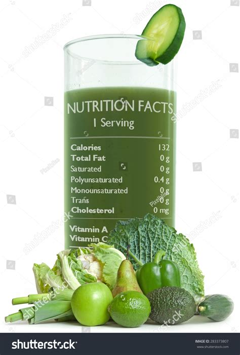 Detox Green Smoothie Nutrition by Green Detox Smoothie With Nutrition Facts Stock Photo