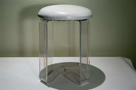 Acrylic Vanity Stool by Vintage Lucite White Vanity Stool