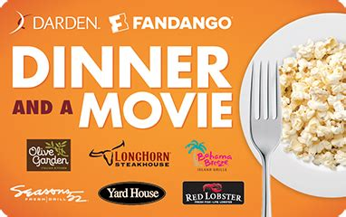 Dinner And A Movie Gift Card Darden - fandango gift cards movie gift cards movie gift certificates
