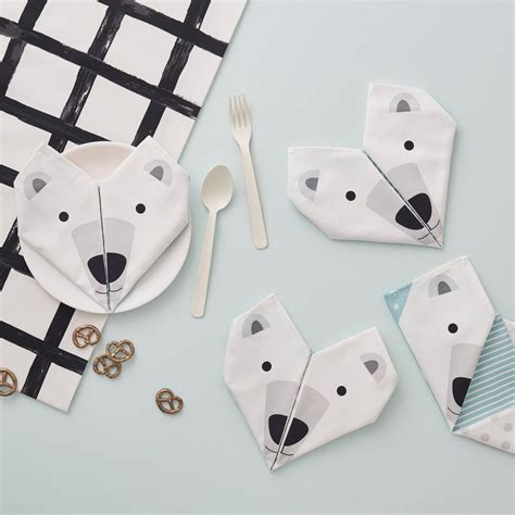 How To Make A Polar Out Of Paper - origami cotton napkins polar bears set of four by