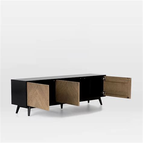 oak media console chevron oak media console west elm