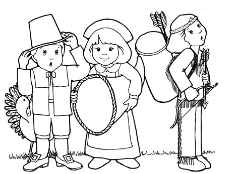 Pilgrim And Indian Coloring Pages free pilgrims and indians coloring pages