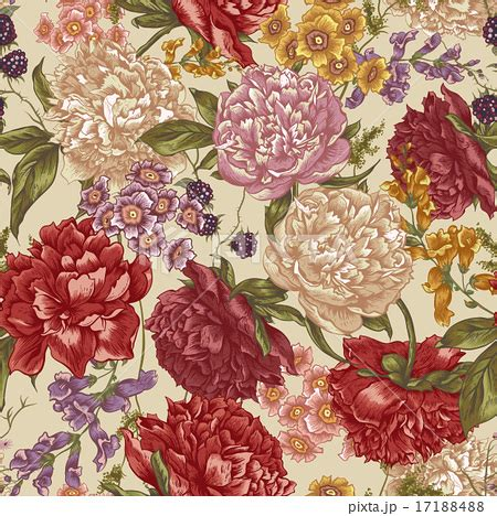 new year flower pattern floral seamless pattern with peonies in vintage styleのイラスト