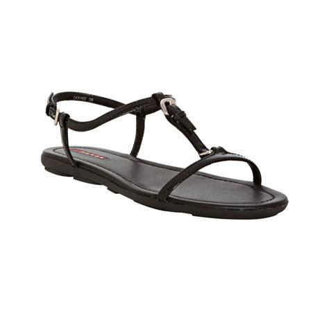 patent leather sandals flats lyst prada sport black patent leather t flat