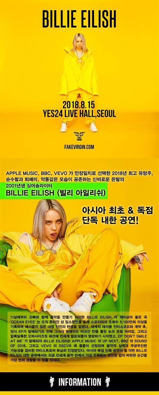 billie eilish korea billie eilish 빌리 아일리쉬 첫 내한 공연