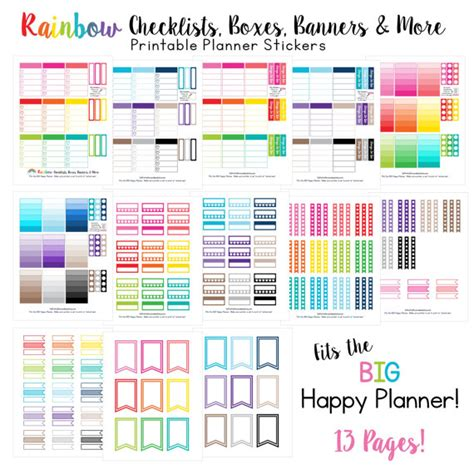 printable planner checklist stickers big happy planner rainbow checklists boxes banners more