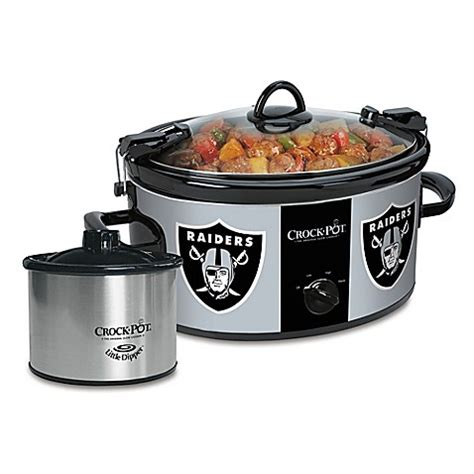 slow cooker bed bath and beyond nfl oakland raiders crock pot 174 cook carry slow cooker