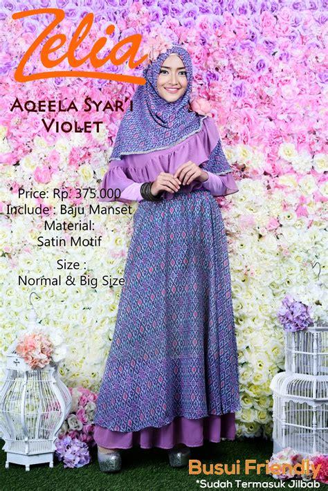 aqeela syar i violet by zelia baju muslim gamis modern