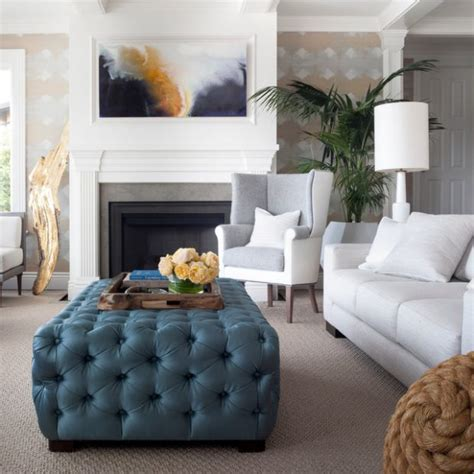 how to decorate an ottoman coffee table 20 gorgeous living room design ideas with tufted ottoman