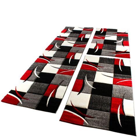 teppich rot schwarz grau bettumrandung l 228 ufer teppich modern karo rot grau schwarz