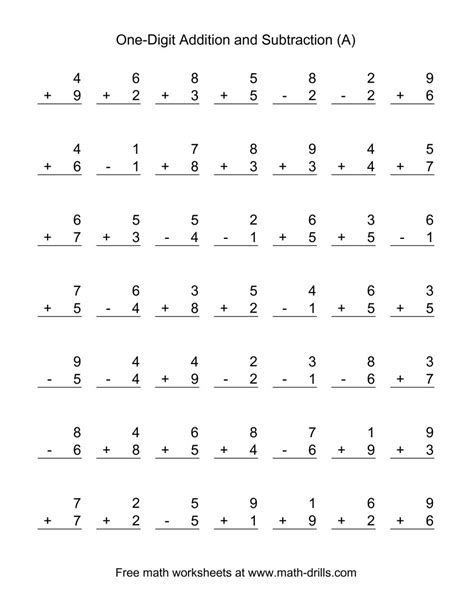 Mixed Addition And Subtraction Worksheets by Adding And Subtracting Single Digit Numbers A