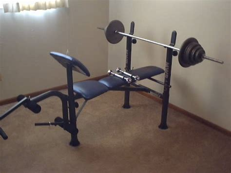 used weight bench set for sale marcy standard bench with 160 lb regular weight set for