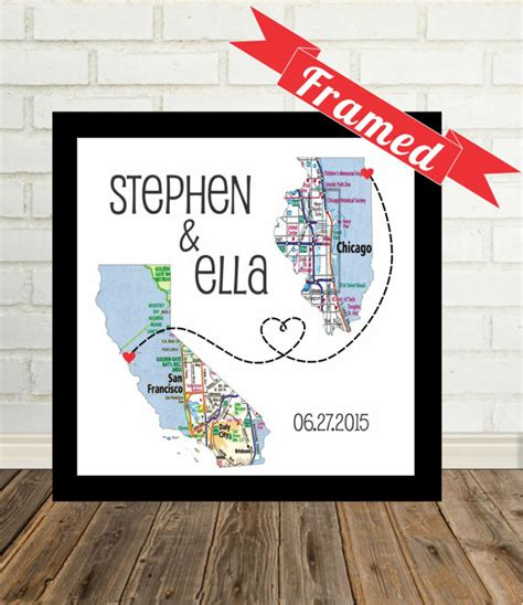 Wedding Gift Map by Wedding Gift Personalized Map Print Framed Unique